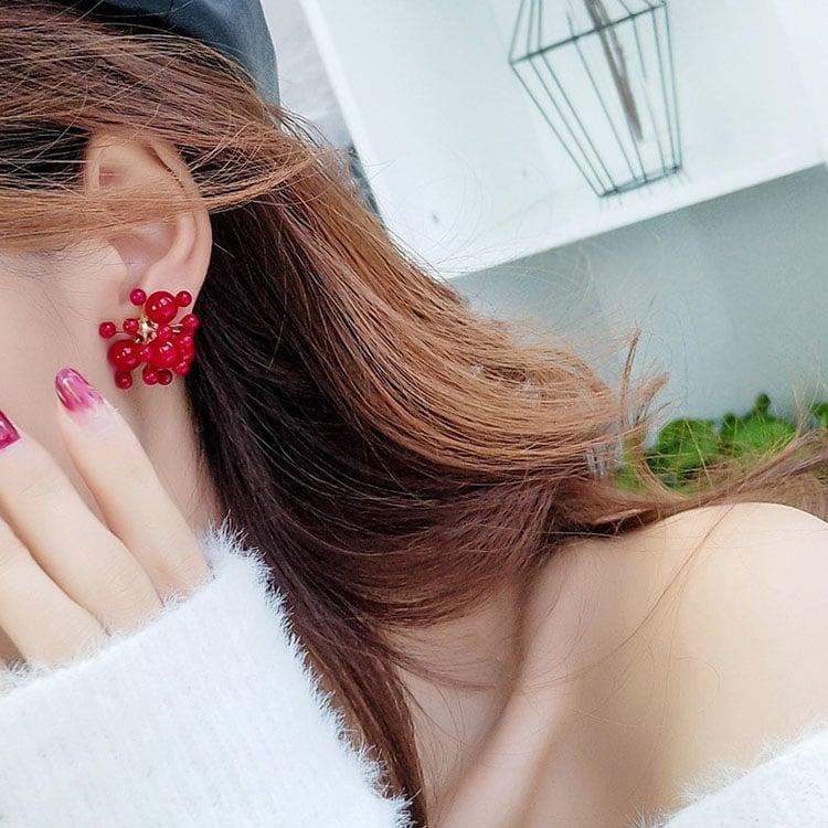 小珍珠煙花造形耳釘