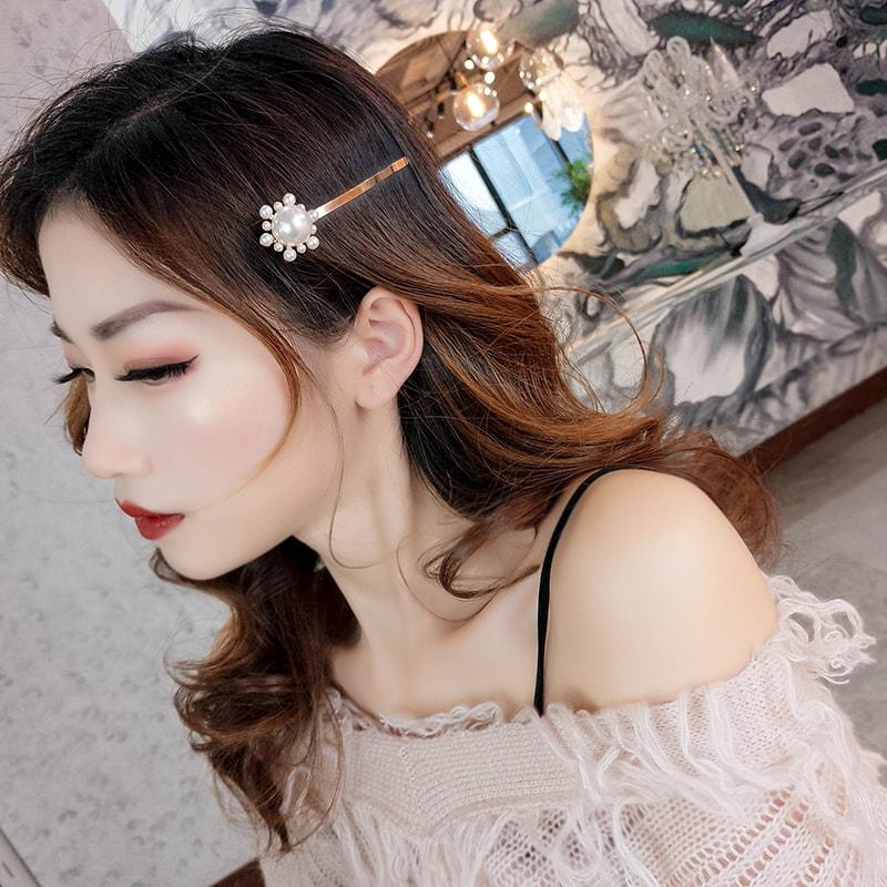 玫瑰金珍珠少女一字髮夾